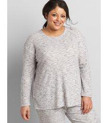 lane bryant women's livi waffle-knit sweatshirt 30/32 medium heather grey