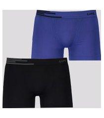kit de 2 cuecas boxer lupo fiber azul e preto