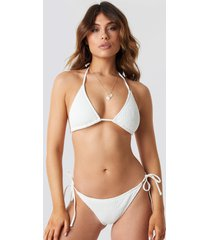 na-kd swimwear smocked triangle bikini panty - white