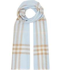 burberry lightweight check wool silk scarf - blue