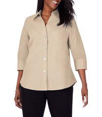 foxcroft paityn non-iron cotton shirt, size 18w in almond tart at nordstrom