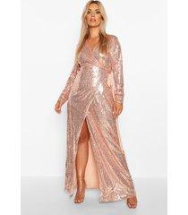 plus lange maxi jurk met pailletten, roségoud
