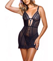 women's kendal strappy 2 piece mesh with lace chemise and panty set