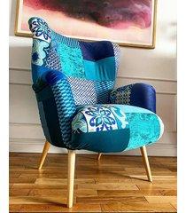 fotel uszak scandi patchwork blue