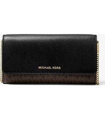 mk portafoglio convertibile grande in pelle con logo e catena - marrone/nero (marrone) - michael kors