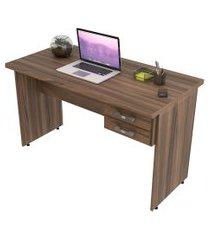 escrivaninha mesa de escritório trevalla 1,20m tampo 30mm nogal