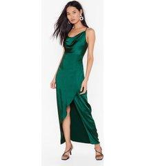 womens cowl on me satin maxi dress - dark green