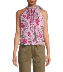 rebecca taylor women's zadie floral halter top - lilac combo - size xs