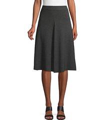 ribbed cotton blend knee-length skirt