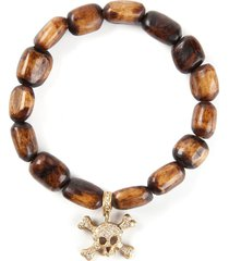loree rodkin gold and diamond skull head bracelet - brown