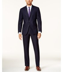 kenneth cole reaction men's ready flex navy shadow check slim-fit suit