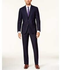 kenneth cole reaction men's big and tall techni-cole navy shadow check slim-fit suit