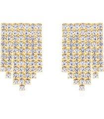 orecchini pendenti multifilo in metallo dorato con strass per donna