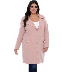 casaco trench coat forma rara nude com botões dourados