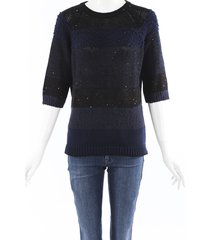 brunello cucinelli sequin striped sweater blue/black sz: custom