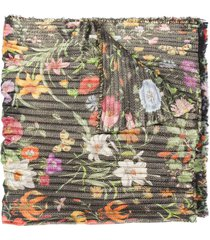 gucci floral print scarf - gold
