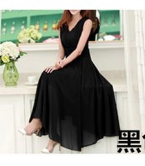 pf253 sexy deep v sleeveless chiffon swing dress  size s-xl, black