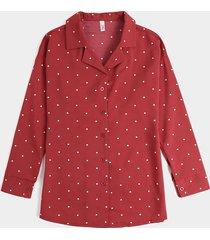 camicetta da donna in chiffon con risvolto a maniche lunghe con bottoni stampati a pois
