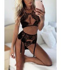 black sexy eyelash lace hollow out front lingerie set