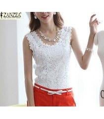 zanzea más el tamaño s-4xl mujer ata mangas de camiseta sin mangas del chaleco de la blusa tops t (blanco) -blanco