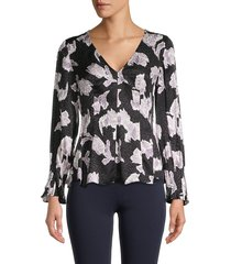 rebecca taylor women's ikat blossom silk-blend top - black combo - size 0