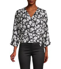 joie women's printed wrap top - caviar - size s
