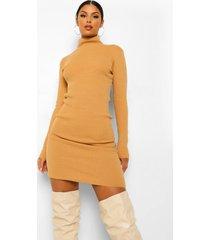 gebreide jurk met col, camel