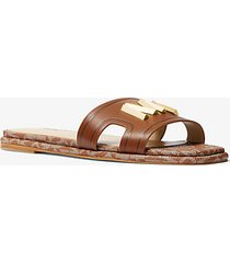 mk sandalo slide kippy in pelle - cuoio (marrone) - michael kors
