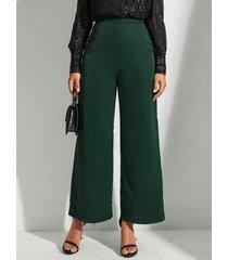 yoins verde militar pierna ancha de talle alto pantalones