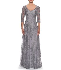 women's la femme floral embroidered mesh a-line gown, size 8 - metallic