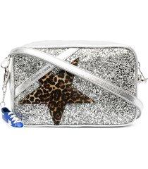 golden goose star patch glitter crossbody bag