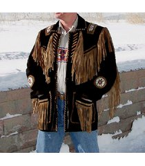 men's traditional western leather jacket cowboy coat with fringe bone and beads