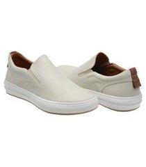 sapatênis slip on masculino couro leve confortável moderno branco 38