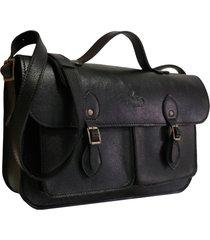 bolsa line store leather satchel pockets média couro preto