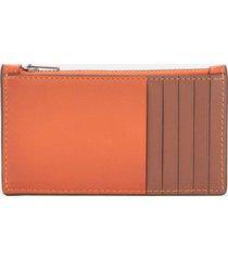 coach men's zip card case in colour block leather - spice orange/dark saddle