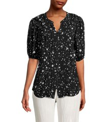 beach lunch lounge women's rycki shine star-print button-front top - shine noir - size xs