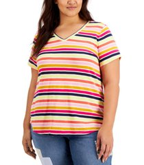 style & co plus size cotton striped v-neck t-shirt, created for macy's