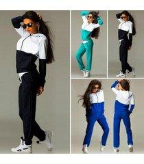 women's casual tracksuit color stitching hooded sweatshirt long pants hoodie set