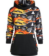plus size bat print tunic long sleeve hoodie