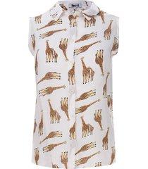 camisa jirafas color blanco, talla m
