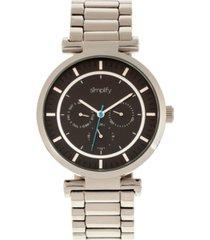 simplify quartz the 4800 silver case, black dial, alloy watch 44mm