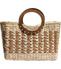bolsa sacola de palha de milho trico praia trançada com alça de madeira bicolor