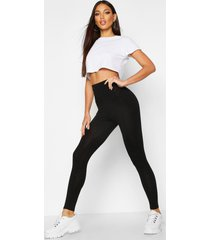 basic diepe legging met hoge taille, zwart