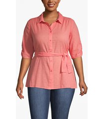 lane bryant women's textured belted shirt 16 porcelain rose