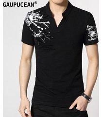 camiseta manga corta gaupucean para hombre-negro