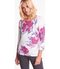 elegancki sweter z motywem kwiatowym i dżetami