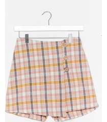 womens check up on it linen wrap skort - pink