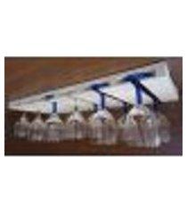 porta taças reto suporte de parede decorativo para adegas - branco laca