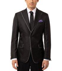 tallia men's slim-fit black & silver dotted dinner jacket