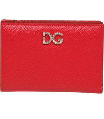 dolce & gabbana small wallet in dauphine calfskin with strass dg